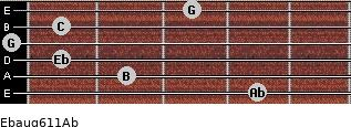 Ebaug6/11/Ab for guitar on frets 4, 2, 1, 0, 1, 3