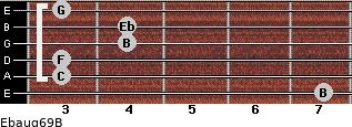 Ebaug6/9/B for guitar on frets 7, 3, 3, 4, 4, 3
