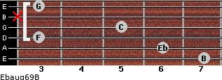 Ebaug6/9/B for guitar on frets 7, 6, 3, 5, x, 3