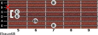 Ebaug6/B for guitar on frets 7, 6, 5, 5, x, 7