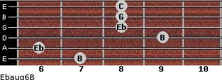 Ebaug6/B for guitar on frets 7, 6, 9, 8, 8, 8