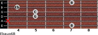 Ebaug6/B for guitar on frets 7, x, 5, 5, 4, 7