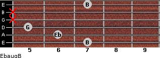 Ebaug/B for guitar on frets 7, 6, 5, x, x, 7