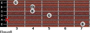 Ebaug/B for guitar on frets 7, x, 5, 4, 4, 3