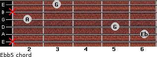 Eb(b5) for guitar on frets x, 6, 5, 2, x, 3