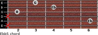 Eb(b5) for guitar on frets x, 6, x, 2, 4, 3