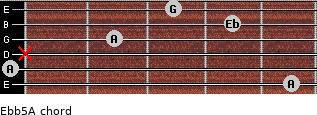 Eb(b5)/A for guitar on frets 5, 0, x, 2, 4, 3