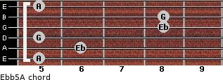 Eb(b5)/A for guitar on frets 5, 6, 5, 8, 8, 5