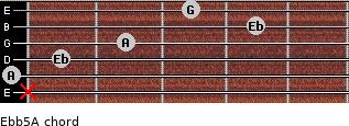 Eb(b5)/A for guitar on frets x, 0, 1, 2, 4, 3