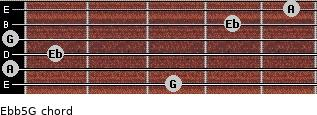 Eb(b5)/G for guitar on frets 3, 0, 1, 0, 4, 5