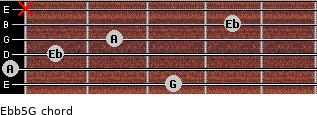 Eb(b5)/G for guitar on frets 3, 0, 1, 2, 4, x