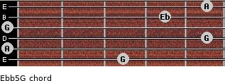 Eb(b5)/G for guitar on frets 3, 0, 5, 0, 4, 5