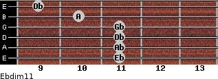 Ebdim11 for guitar on frets 11, 11, 11, 11, 10, 9