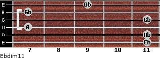 Ebdim11 for guitar on frets 11, 11, 7, 11, 7, 9