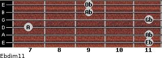 Ebdim11 for guitar on frets 11, 11, 7, 11, 9, 9