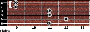 Ebdim11 for guitar on frets 11, 12, 11, 11, 9, 9