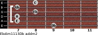 Ebdim11/13/Db add(m2) guitar chord
