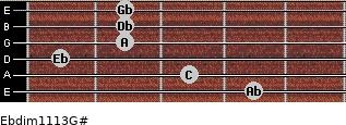 Ebdim11/13/G# for guitar on frets 4, 3, 1, 2, 2, 2