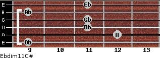 Ebdim11/C# for guitar on frets 9, 12, 11, 11, 9, 11