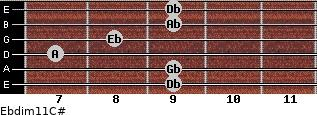 Ebdim11/C# for guitar on frets 9, 9, 7, 8, 9, 9