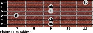 Ebdim11/Db add(m2) guitar chord