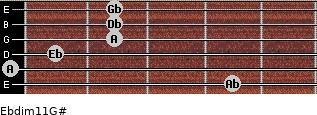 Ebdim11/G# for guitar on frets 4, 0, 1, 2, 2, 2