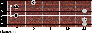 Ebdim6/11 for guitar on frets 11, 11, 7, 11, 7, 8