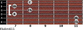 Ebdim6/11 for guitar on frets 11, 11, 7, 8, 7, 8