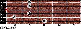 Ebdim6/11/A for guitar on frets 5, 3, 4, x, 4, 4