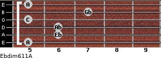 Ebdim6/11/A for guitar on frets 5, 6, 6, 5, 7, 5