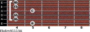 Ebdim9/11/13/A for guitar on frets 5, 4, 4, 5, 4, 4