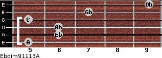 Ebdim9/11/13/A for guitar on frets 5, 6, 6, 5, 7, 9
