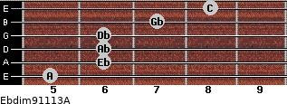 Ebdim9/11/13/A for guitar on frets 5, 6, 6, 6, 7, 8