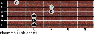 Ebdim(maj11)/Bb add(#5) guitar chord