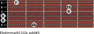 Ebdim(maj9/11)/Gb add(#5) guitar chord