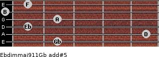 Ebdim(maj9/11)/Gb add(#5) for guitar on frets 2, 5, 1, 2, 0, 1