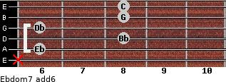 Ebdom7(add6) for guitar on frets x, 6, 8, 6, 8, 8