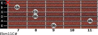 Ebm11/C# for guitar on frets 9, 11, 8, 8, 7, x