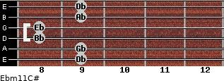 Ebm11/C# for guitar on frets 9, 9, 8, 8, 9, 9