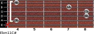 Ebm11/C# for guitar on frets x, 4, 8, 8, 7, 4