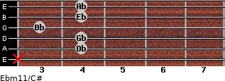 Ebm11/C# for guitar on frets x, 4, 4, 3, 4, 4