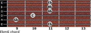 Ebm6 for guitar on frets 11, 9, 10, 11, 11, 11