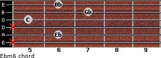 Ebm6 for guitar on frets x, 6, x, 5, 7, 6