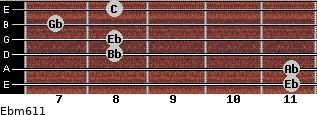 Ebm6/11 for guitar on frets 11, 11, 8, 8, 7, 8