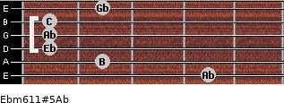 Ebm6/11#5/Ab for guitar on frets 4, 2, 1, 1, 1, 2