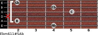 Ebm6/11#5/Ab for guitar on frets 4, 2, x, 5, 4, 2