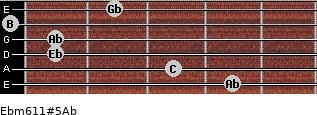 Ebm6/11#5/Ab for guitar on frets 4, 3, 1, 1, 0, 2