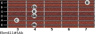 Ebm6/11#5/Ab for guitar on frets 4, 3, 4, 4, 4, 7