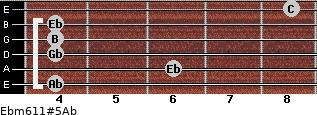 Ebm6/11#5/Ab for guitar on frets 4, 6, 4, 4, 4, 8