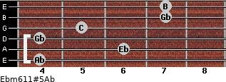 Ebm6/11#5/Ab for guitar on frets 4, 6, 4, 5, 7, 7